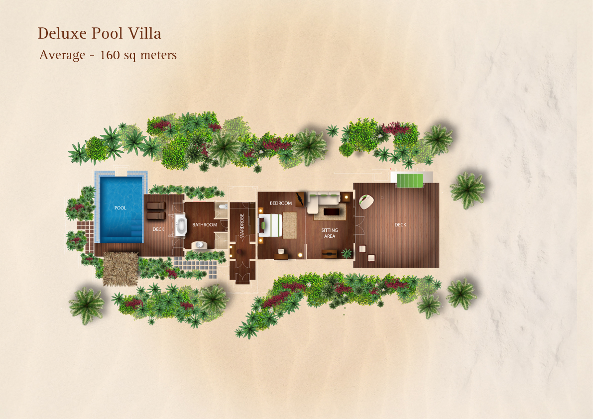 Deluxe pool villa space 160 sqm floor plan